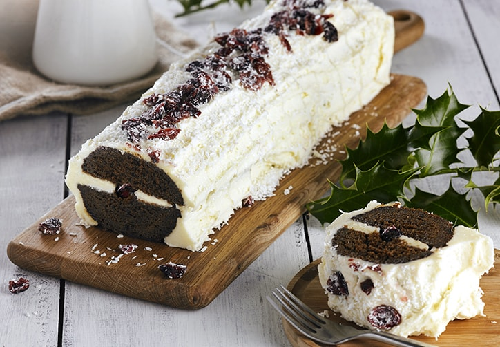 GINGERBREAD & CRANBERRY YULE LOG