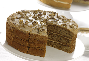 Triple Coffee and Walnut Cake
