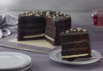 Four layer chocolate fudge cake